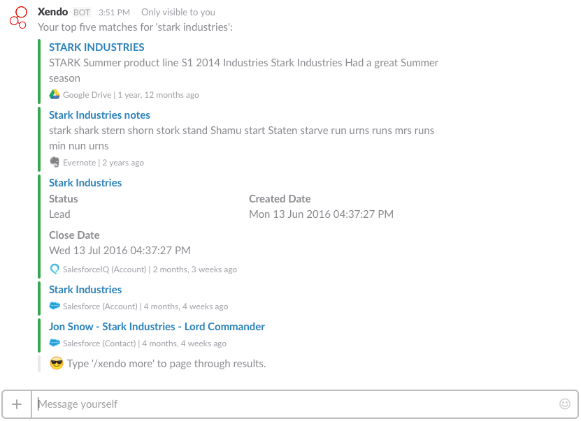 AppWise search results in Slack